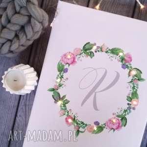 Prezent ŚWIECĄCY OBRAZ wianek prezent ślub rocznica dla młodej pary monogram litera