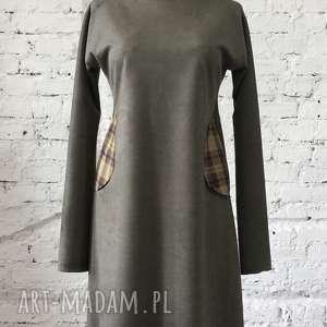 Trapezowa sukienka, elegancka, midi, wymyślna, zielona, zamszowa, codzienna