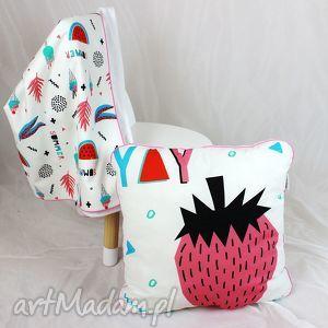 poduszka summer truskawka 46x46, poduszka, dekoracyjna, pościel, truskawka, minky