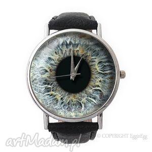 hand made zegarki źrenica - skórzany zegarek z dużą tarczą