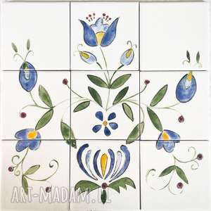 unikaty Sita: malowane dekory ceramiczne etno, ludowe, dekoracja ściana, kafelki malowane