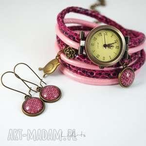 Prezent Komplet - Ptak zegarek i kolczyki amarant, różowy antyczny brąz