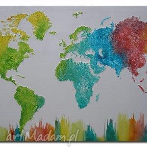 obraz MAPA ŚWIATA KOLOROWA 3D - 15 -96x54cm ręcznie malowana, mapa, świata, kolorowa