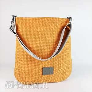 hobo xxl kolor żółta pomarańcza efekt 3, torebka na ramię, pasku