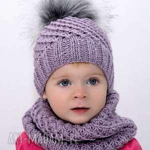 komplet lawenda merynos dziecięcy, czapka, dziecięca, wełniana, lawendowa, komin