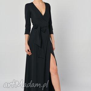 sukienki kava-kava - kopertowa sukienka maxi, sukienka, długa, czarna, jersey