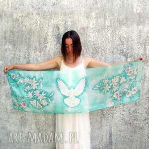 chustki i apaszki turkusowy szal jedwabny biała gołębica, malowany jedwab