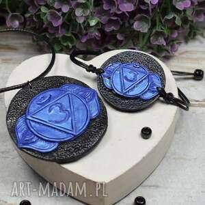komplet biżuterii ajna - wisiorek i bransoletka czakry trzeciego oka