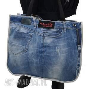 ręcznie zrobione na ramię duża torba upcykling jeans g-star 82 od majunto