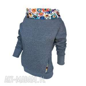 Bluza dresowa z motywem folkowym, bluza-dresowa-folk, bluza-z-kominem, motyw-łowicki