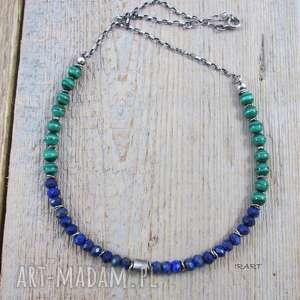 lapis lazuli z malachitem - malachit, srebro, oksydowane, naszyjnik, lapis