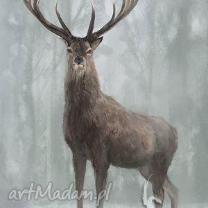obrazy obraz jeleń 3 - skandynawski płótno, obraz, jeleń, prezent, etniczny