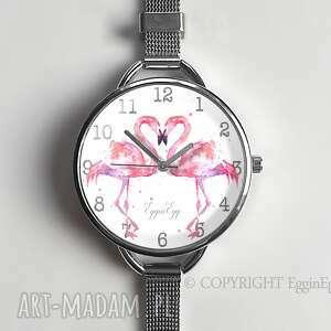 ręcznie zrobione zegarki flamingi - zegarek damski na prezent