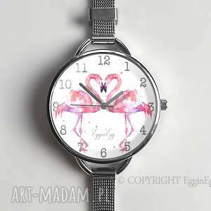 flamingi - zegarek damski na prezent, flaming, flamingi, zegarek-damski