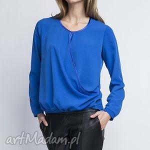 Bluzka, BLU125 indygo, kobieca, delikatna, klasyczna, kopertowa, elegancka, koszula
