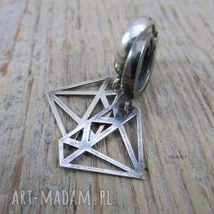 Diament - kolczyki irart srebro