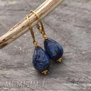 srebrne pozłacane kolczyki z lapis lazuli, lapis, lazuli, srebro, pozłacane