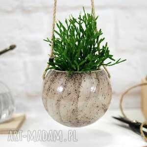 ceramika wabi-sabi - wisząca doniczka ceramiczna m, wabi sabi
