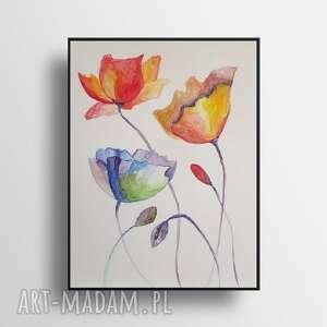 kwiatki-akwarela formatu a4, akwarela, kwiatki