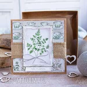 kartki naturalna kartka z zielnika mrufru, na każdą okazję pudełeczko efektem