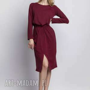Sukienka, SUK109 bordo, sukienka, casual, asymetryczna, kieszeń, midi