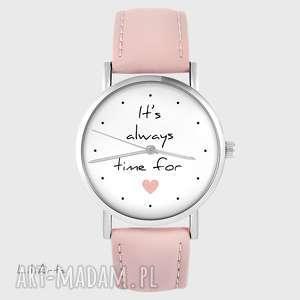 zegarek - it is always time for love pudrowy róż, zegarek, prezent, serce
