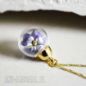 925 pozłacany srebrny łańcuszek fioŁek - kwiaty, fiołek, naturalna