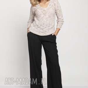klasyczny sweter, swe187 beż mkm, klasyczny, wzór, jesień, beż