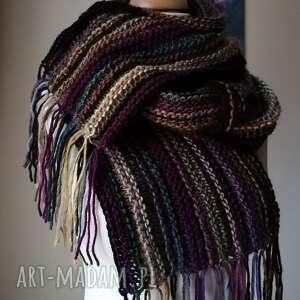 unisex oryginalny autorski szal, rękodzieło, szal boho na drutach, ręcznie