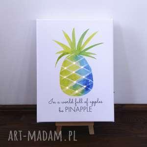 świecący obraz led akwarela z ananasem i cytatem lampka dekoracja, ananas