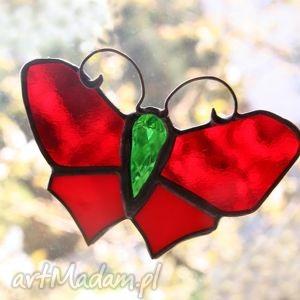 witraże skrzydlak czerwonek, witraż, motyl, zawieszka
