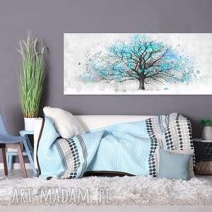 obraz drukowany na płotnie z niebieskim drzewem 150x60cm, obraz, drzewo