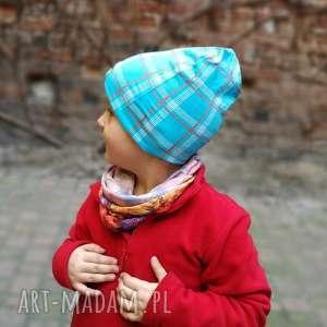 czapka dziecięca dresowa miękka w kratkę, czapka, wiosna, kratka, rower, sport
