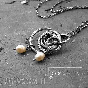 naszyjniki srebro i perły - długi naszyjnik, długi, perły, srebrny, boho