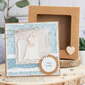 piękna rustykalna kartka ślubna w pudełeczku prezent ślubny, ślub