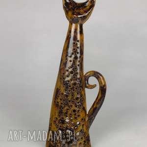 ceramika kot lampion, ceramiczny, brąz
