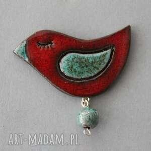 hand-made upominki świąteczne ptaszek-broszka ceramiczna