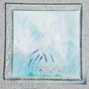 Szklana patera 32 x cm anioł szkło renata bulkszas fusing
