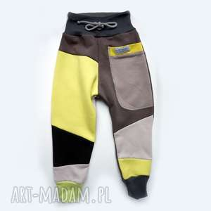 handmade święta upominki patch pants spodnie 110 - 152 cm żółty & szary