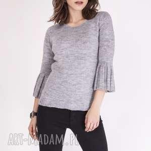 swetry sweterek, swe096 szary mkm, dzianinowy, sweter, rozszerzane, rękawy
