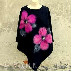 poncho różowe kwiaty, poncho, ponczo, czarne wiosenne ponczo