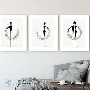 zestaw 3 grafik 30x40 cm wykonanych ręcznie, abstrakcja, elegancki minimalizm