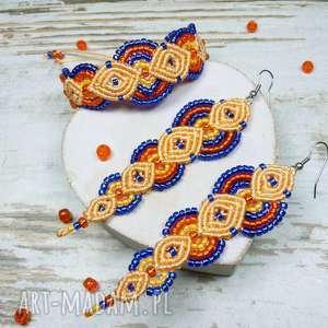 Prezent Komplet biżuterii z koralików - pomarańcz i kobalt, makrama, prezent