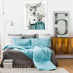 obraz na płótnie - 60x80cm rodzeństwo wysyłka w 24h 02261, jelenie, jelonki