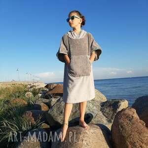 surf poncho dziecięce - gray mint, szlafrok dziecięcy, bawełniane