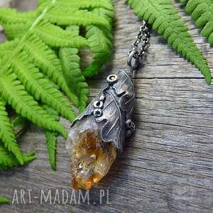 radecka art raw citrine, srebrny naszyjnik, boho, biżuteria cytryn, liście