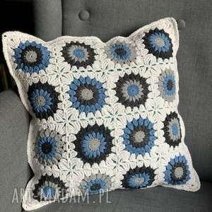 poszewka na poduszkę 40x40 cm niebieskie kwiatki, poduszka, poszewka, kwiatki