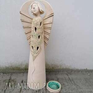 ceramika anioł ceramiczny - plava, anioł, ażur, rękodzieło, rzeźba, tea light