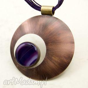 handmade naszyjniki koło z fioletowym agatem