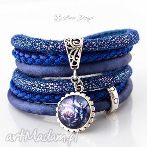 bransoletka rzemienna true blue, chabrowa, owijana, rzemienie, szeroka, pleciona